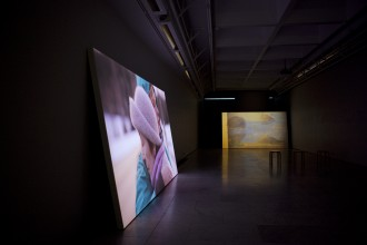 Installation shot of the show Shine on You, Eevaliisa, comprising of the trilogy of video works / 3 x 4m by 2,25m / HD video, stereo sound, painted wood / Helsinki Art Museum Kluuvi Gallery / 2014